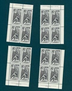 CANADA-486-15c-ARMISTICE-VIMY-MEMORIAL-1968-PLATE-1-BLOCKS-SET-MNH