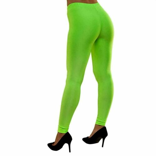 New Girls Ladies Womens Gymnastic Neon Colour Plain Leggings Pants Dance Wear