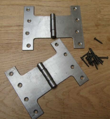 2 x Parliament door hinge Wide Throw Full Swing Back button tipped patio french