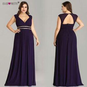 Details about Plus Size Formal Evening Dress Long Women Elegant Burgundy V  Neck Chiffon Empire