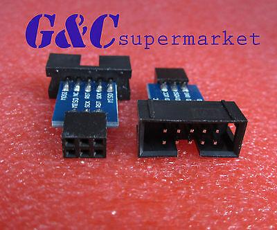 10PCS 10 to 6 Pin Adapter for ATMEL AVRISP USBASP STK500 Black M19
