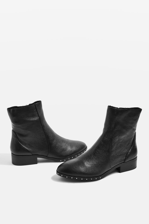 New TOPSHOP 'kash' black leather ankle sock boots uk 2 eu 35 us 4.5