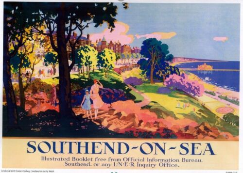 Vintage Transport Railway Rail Travel Poster RE PRINT Southend on Sea