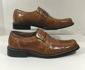 sold worldwide pick up excellent quality Details about Fratelli Select Brown Cognac Leather Slip On Loafers Square  Toe Shoes Mens 9.5 M
