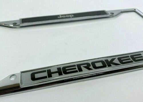 Chrome Jeep Cherokee Emblem License Plate Frame Licensed