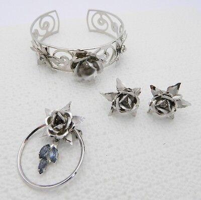 Rhinestone Parure Necklace Set Bracelet Earrings Baguettes Silver Metal High End Vintage