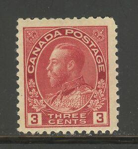 Canada-109c-1924-3c-King-George-V-Admiral-Issue-Die-Type-II-Unused-Hinged