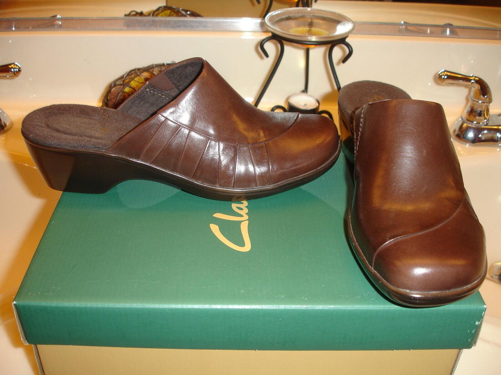 Clarks April Dahlia marron Leather Mule Slide  Cute chaussures 6.5 7.5   85 Quality