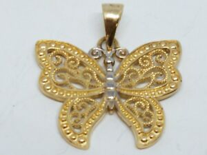 a4f567aac Image is loading GOLD-14k-butterfly-pendant-yellow-white-charm-filigree-