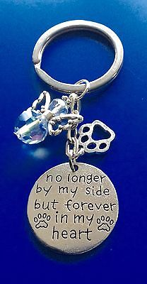 PET DOG CAT MEMORIAL KEY CHAIN KEYRING GLASS CRYSTAL GUARDIAN ANGEL PAWS GIFT