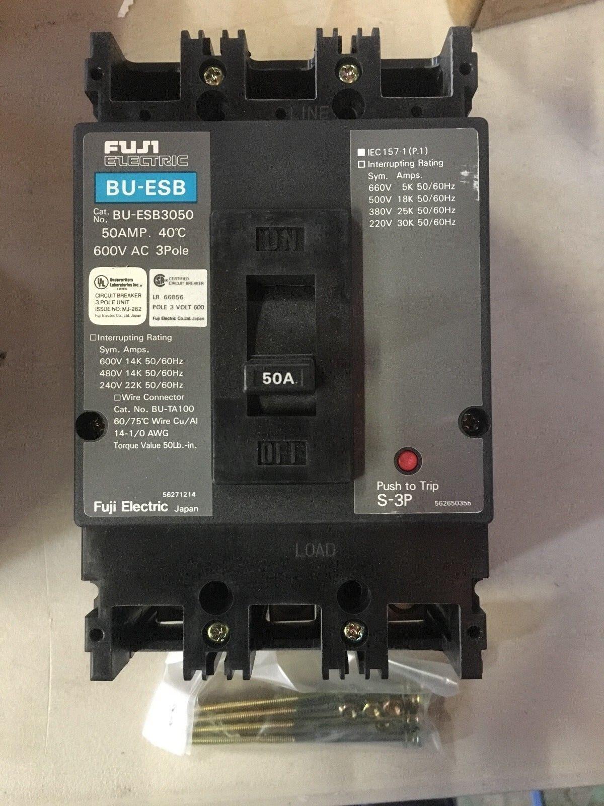 Fuji Electric BU-ESB3050 CIRCUIT BREAKER 50AMP 600VAC 40 DEGREE C 3POLES