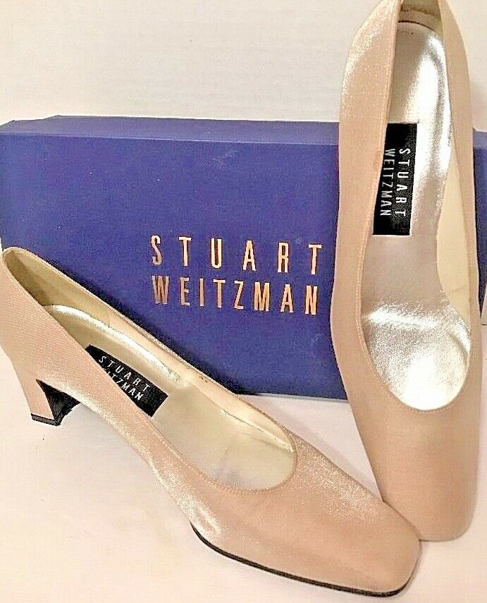 Stuart Weitzman ANNA Oyster Sparkle Pumps Wedding Champagne Box MSRP  162 Sz 9AA