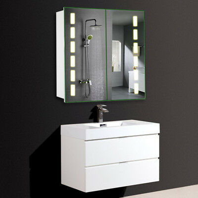 Wide Illuminated Bathroom Wall Mirror Cabinet Storage Led