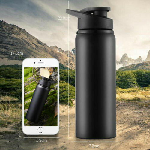 Portable Stainless Steel Water Bottle Straight Drink Bike Travel Cold Kettle