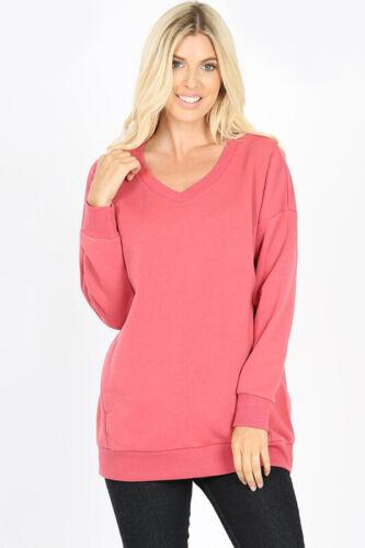 Femme Chaud Polaire Doublé Tunique Sweat-shirt col V poches Loose Oversize Top