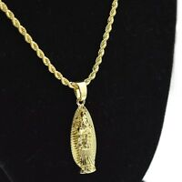 Virgen De Guadalupe Our Lady Micro Pendant Chain Gold Tone 24 In Rope Necklace