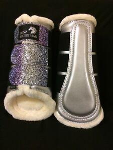 Unicorn-Brillant-Paillettes-brossage-Tendon-Dressage-Protection-Bottes-doublees-en-polaire