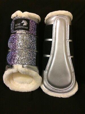 PINK//PURPLE GLITTER BROWN PATENT BRUSHING DRESSAGE PROTECTION BOOTS FLEECE XXS-M