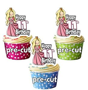 Image Is Loading 11th Birthday Princess Precut Cupcake Toppers Cake Decorations