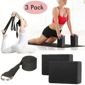 3pcs yoga block set eva foam brick stretch strap belt