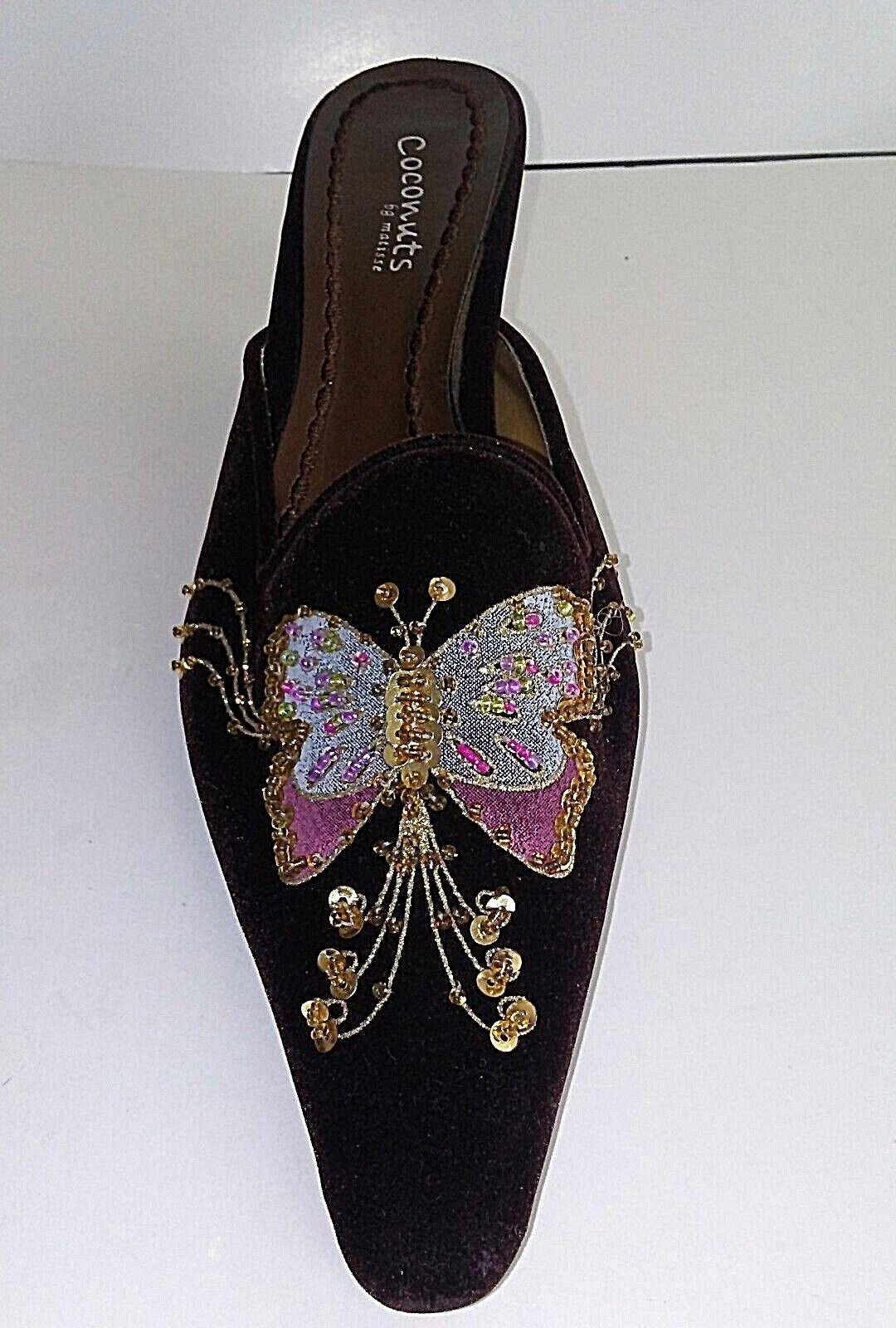 Coconuts Matisse Tula Womens size 8 Beaded Sequined Brown Velour  Mule Slides