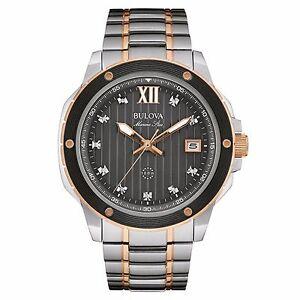 Bulova-Men-039-s-98D127-Marine-Star-Diamond-Markers-Quartz-Two-Tone-Dress-Watch