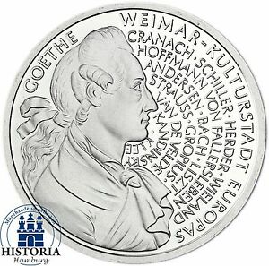 Brd 10 Dm Johann Wolfgang V Goethe 1999 Silber Stempelglanz Münze