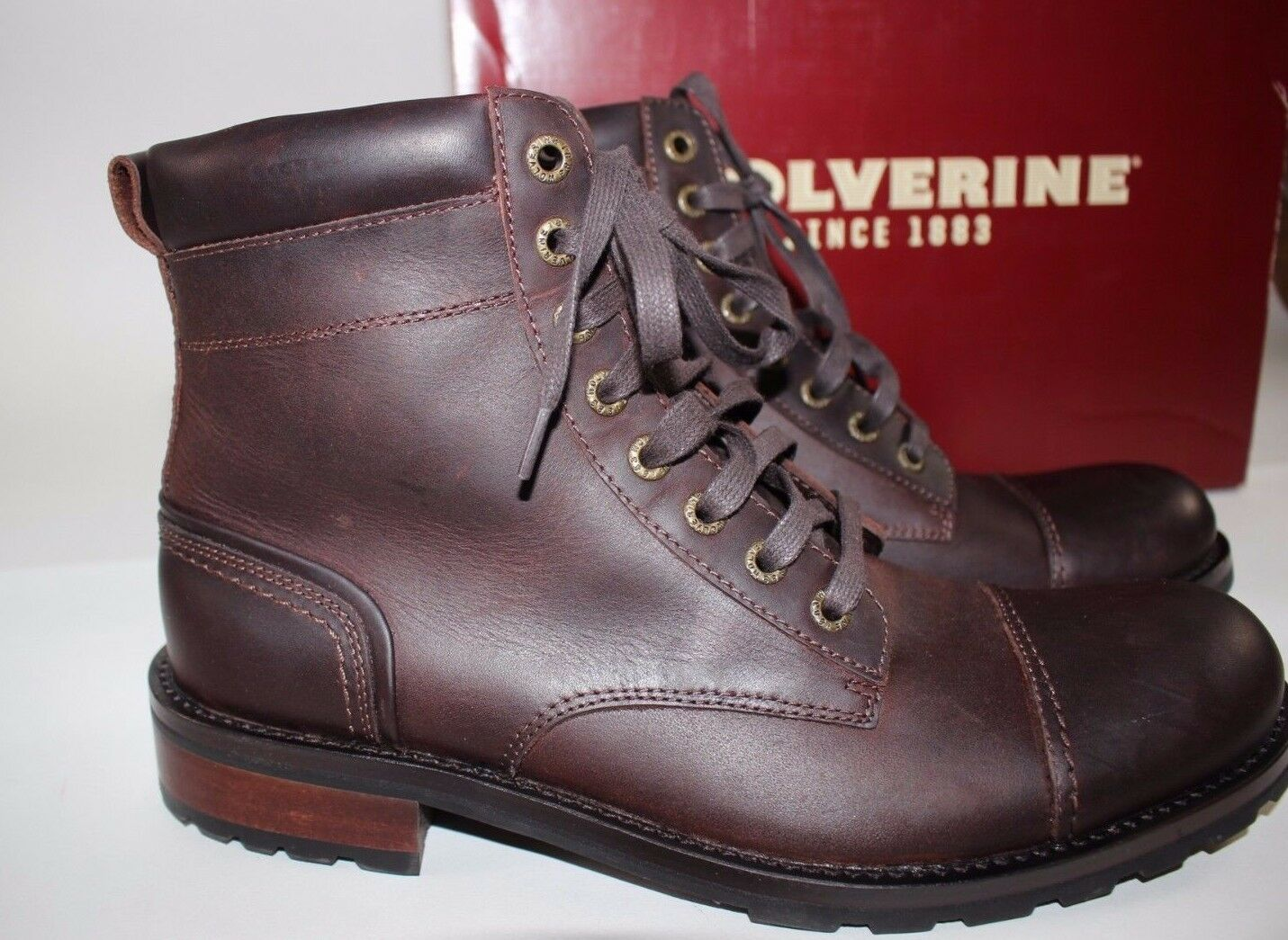 e601cf124c6 Wolverine Size 10 Men's Dark Brown 100 Leather Reese Cap Toe Combat Boot