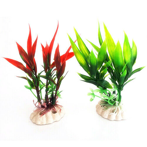 JN/_ 11cm Red Green Plastic Plant Grass for Aquarium Fish Tank Landscape Decor