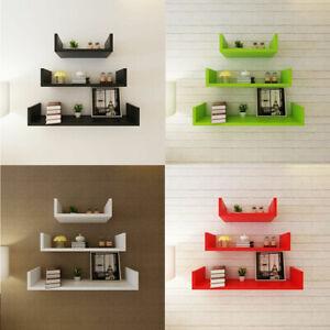 Dettagli su 3 Mensole per pareti casa soggiorno sala Modern colori diversi  MDF per Libri/CD