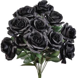 Site Officiel Noir 12 Ouvert Long Stem Roses Soie Mariage Fleurs Bouquets Décorations Decor-afficher Le Titre D'origine Divers Styles