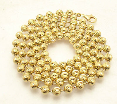 6mm Moon Cut Ball Bead Chain Necklace Solid 14k Yellow