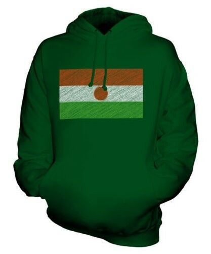 NIGER SCRIBBLE FLAG UNISEX HOODIE TOP GIFT NIGERIEN FOOTBALL