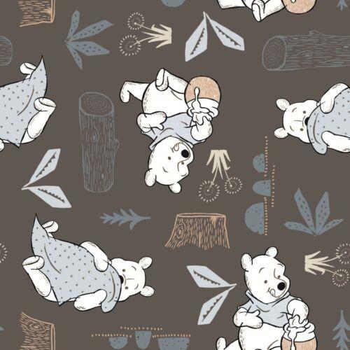 Winnie The Pooh Nursery Fabric Cotton Fabric Craft Brown Grey Fabric Baby Fabric