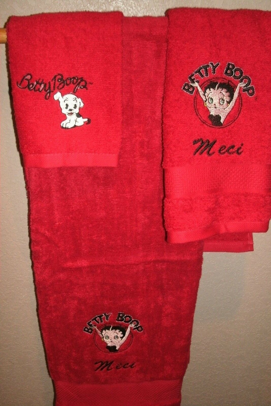 Betty Boop Circle Personalized 3 Piece Bath Towel Set Your Color Choice