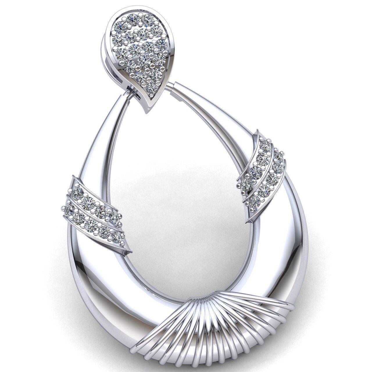 Real 0.75carat Round Cut Diamond Ladies Fancy Pendant 14K gold
