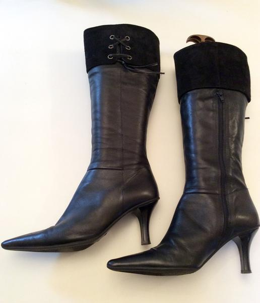 CLARKS BLACK LEATHER & SIZE SUEDE TRIM KNEE LENGTH BOOTS SIZE & 6/39 889479