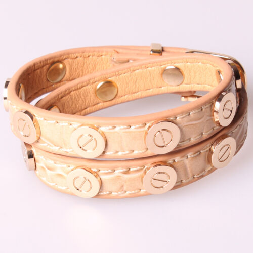 Croc Faux Leather Bracelet Gold Plated Nail Screw Bangle Nude Beige