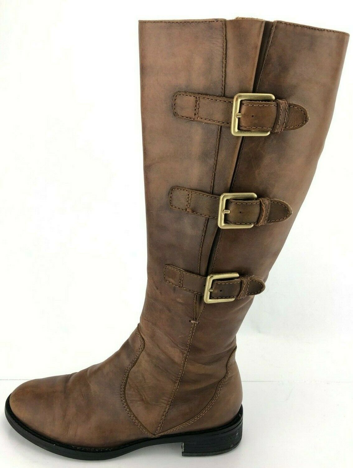 Ecco Hobart Riding Boots Brown Leather Zip Buckle Knee High Womens 38 US 7,7.5