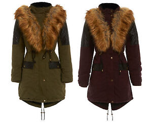 Parka Hooded Wine Khaki Coat New Quilted Fishtail Womens Size Winter Fur 16 8 wH080