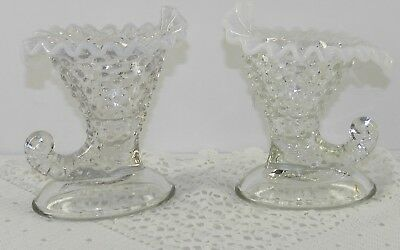 "Vintage Fenton White French Opalescent 6"" Hobnail Cornucopia Candle Holders Easy To Repair Art Glass"