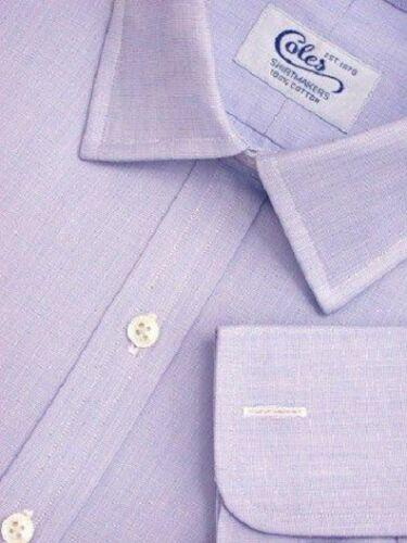 """Coles 14.5/""""//34/"""" 100/% coton ciel//bleu moyen Fin Sur Fin Double Manchette//Reg Fit Shirt"""