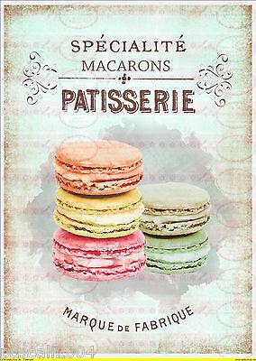 Bügelbild Vintage Cupcake Paris french  Bügelbilder DIN A4  NO. 1207 Macarons