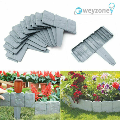 UK Cobbled Stone Effect Plastic Garden Lawn Edging Plant Border Simply Hammer In