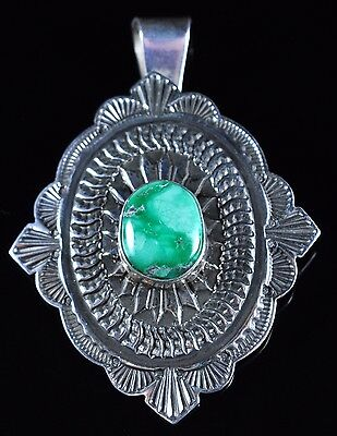 Sterling Silver Navajo Pendant Gem Grade Damale Handmade By Sunshine Reeves