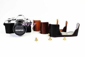 Genuine-Real-Leather-Half-Camera-Bag-Case-For-Olympus-OM-D-E-M10-Mark-II-EM10II