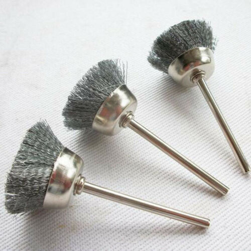 10 Pcs Mini Wire Brush Brushes Brass Cup Wheel for Grinder or Drill 3x13mm