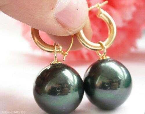 16 mm NOIR south sea shell pearl earring Hot énorme AAAA