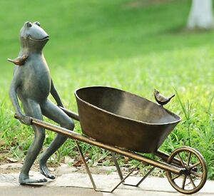 Image Is Loading Frog Bird Friends Wheelbarrow Planter Flower Garden Pot