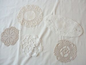5 Vintage 1950's Hand Crochet Cut Work Small  Assorted Sizes